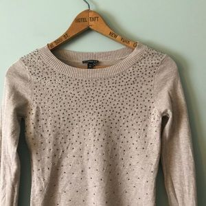 Express beige heather rhinestone sparkle sweater